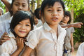 Cambodian little girl portrait siem reap cambodia december students are posing in front of the school in a village near siem reap Stock Image