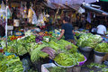 Cambodian market place in a town with fresh vegetables fruits and grochery Royalty Free Stock Image