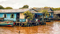 Cambodian people live on Tonle Sap Lake in Siem Reap, Cambodia. The floating village on Tonle Sap lake