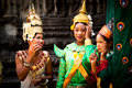 Cambodians in national dress poses in Angkor Wat Royalty Free Stock Photos
