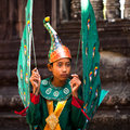Cambodians in national dress poses for tourists in Angkor Wat Stock Photos