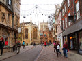 Cambridge at christmas decoration and shoppers in united kingdom Royalty Free Stock Image