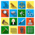 Camcorder, handcuffs, lattice attributes of the prison.Prison set collection icons in flat style vector symbol stock