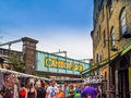Camden Lock Bridge. A famous alternative culture shops Royalty Free Stock Photo