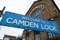 Camden Lock sign at the entrance to Camden market Royalty Free Stock Photo