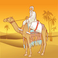 Camel with an Arabian man Stock Image