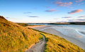 The camel estuary at rock in cornwall with padstow in far distance Royalty Free Stock Photo