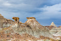 Camel and pyramid shaped rocks like in the badlands of the dinosaur provincial park alberta canada Royalty Free Stock Image