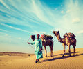 Cameleer with camels in dunes of thar desert raj vintage retro hipster style travel image rajasthan travel background indian camel Royalty Free Stock Photo