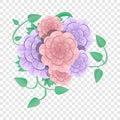 Camellia flower concept background, cartoon style