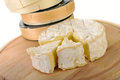 Camembert cheese on a wooden board Royalty Free Stock Photo