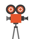 Camera cinema flat line icon