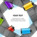 Camera Film Roll Cartrige Photo Retro Banner Card. Vector Royalty Free Stock Photo