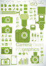 Camera gears infographics of the latest dslr electronic range finders micro four thirds lenses and other graphs Royalty Free Stock Image