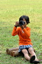 Camera Girl Royalty Free Stock Photography