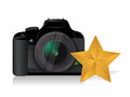 Camera gold star review concept illustration design over white Royalty Free Stock Photos