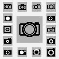 Camera icons set black and white color Stock Image