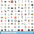 100 camera icons set, cartoon style