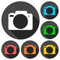 Camera icons set with long shadow