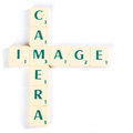 Camera and Image Crossword Using Scrabble Tiles Royalty Free Stock Photo