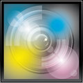Camera lens icon vector app with blends and transparents Stock Photo