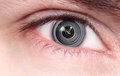 Camera lens inside the eye Royalty Free Stock Photo