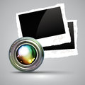 Camera lens with photos and two in the background this illustration may be useful as designer work Stock Image