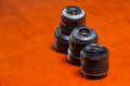 Camera lens plastic and metal mount two lenses one with the other Stock Photography