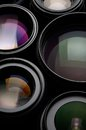 Camera lens set of different sizes and colors Royalty Free Stock Images