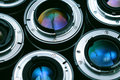 Camera lenses background closeup shot of Royalty Free Stock Image