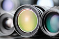 Camera lenses close up of Royalty Free Stock Photo