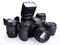 Camera and lenses Royalty Free Stock Photo