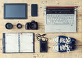Camera, lenses, tablet, phone, usb storage and computer. Royalty Free Stock Photo