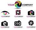 Camera logo set. Photography logo design