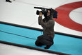 Camera man at xxii winter olympic games sochi russia Royalty Free Stock Photos