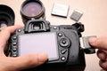 Camera and memory card dslr using sd Stock Image