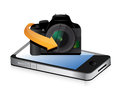 Camera phone app illustration design over a white background Royalty Free Stock Photo
