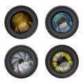 Camera photo lens vector set of lenses Stock Photos