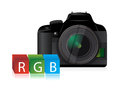 Camera rgb color cubes illustration design over a white background Stock Image