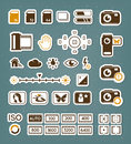 Camera screen icons editable vector set Royalty Free Stock Image