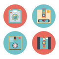 Camera set pastel icon old film Royalty Free Stock Images