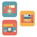 Camera set pastel icon old film Stock Photos