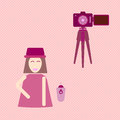Camera shooting portrait yourself concept stock vector Royalty Free Stock Images