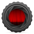 Camera shutter with red curtain on white background Royalty Free Stock Image