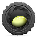 Camera shutter with tennis ball on white background Royalty Free Stock Images