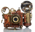 Camera steampunk photo on a white background style Royalty Free Stock Images