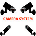 Camera system on white background