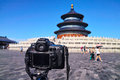 Camera taking picture pictire in temple of heaven Royalty Free Stock Photography