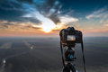 Camera on tripod Royalty Free Stock Photo