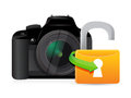 Camera unlock illustration graphic design over a white background Stock Image